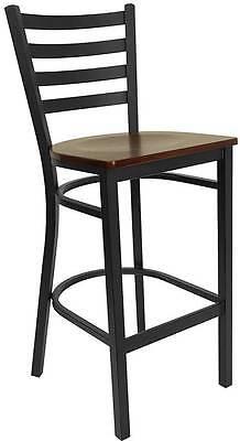 Lot Of 50 Black Ladder Back Metal Restaurant Bar Stools - Mahogany Wood Seat