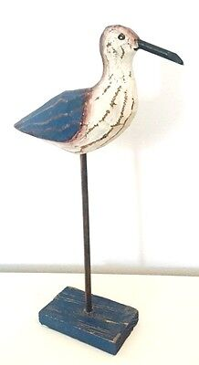 Blue & White Rustic Wooden Bird on Stand - 39cm Nautical Room Decor 7998
