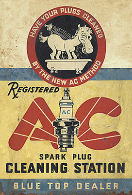 Ac Spark Plug Cleaning Station  Advertising Metal Sign