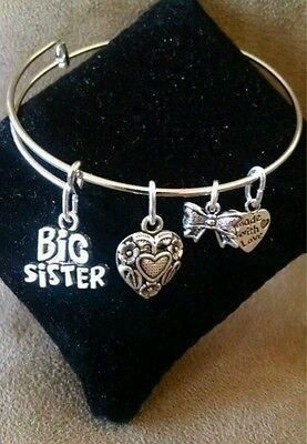 Expandable Silver Colored Handmade Bangle Charm Bracelet  BIG SISTER / SIBLING