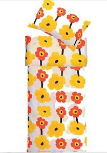 Single Twin DUVET Cover Set Orange-Yellow FLORAL Kids Bedroom