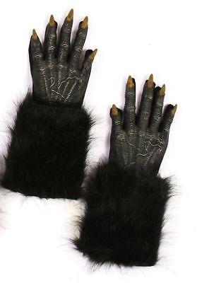 Black Werewolf Gloves Wolf Halloween Adult Costume Accessory Evil Faux Fur Latex (Halloween Costumes Werewolf Gloves)