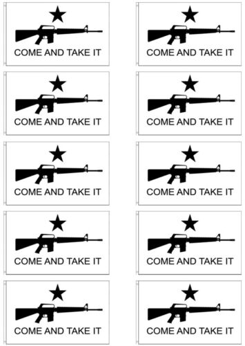 3x5 ft Come And Take It Flag Assault Rifle M4 Texas Gonzales wb - 10 PACK