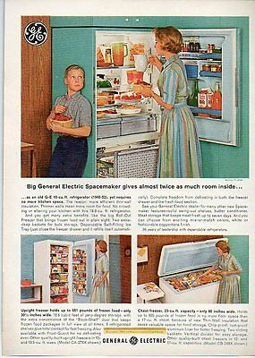 1963 Vintage Ad General Electric Spacemaker Refrigerator Upright Chest Freezer