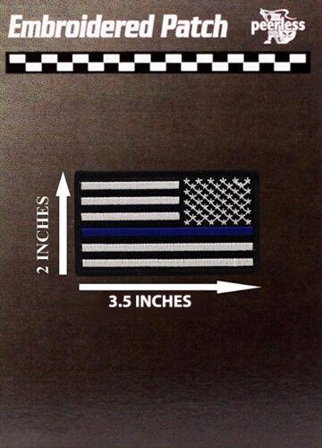 "Blue Line Flag Patch White 2"" x 3.5"" Reverse"