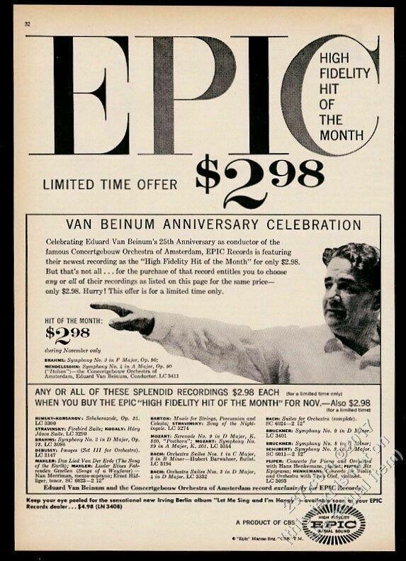 1957 Eduard Van Beinum photo Epic Records vintage print ad