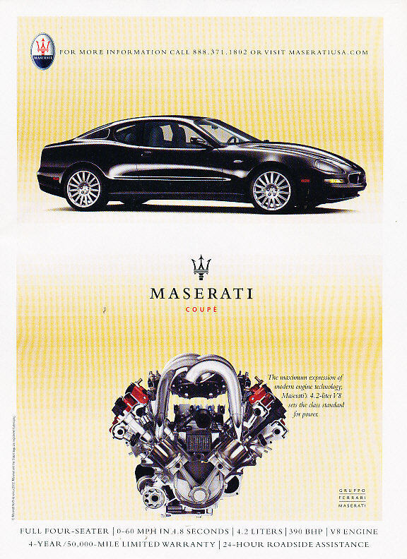 2003 Maserati Coupe - Black - Classic Vintage Advertisement Ad A10-B