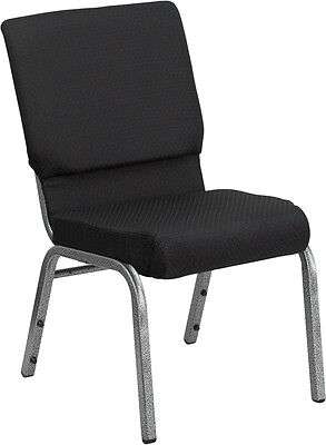 Lot Of 50 18.5 Wide Black Patterned Fabric Stacking Church Chair