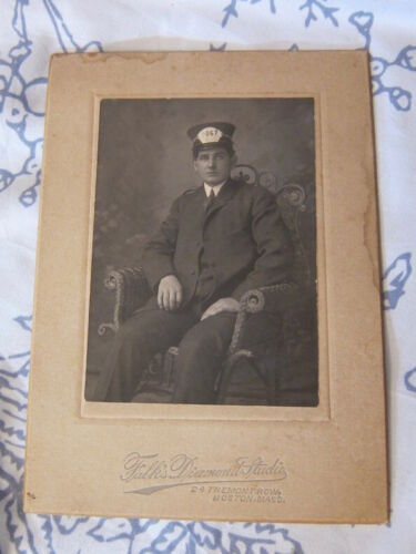 RARE! Estate old PHOTOGRAPH CdV: handsome BOSTON ELEVATED TRAIN CONDUCTOR #9026