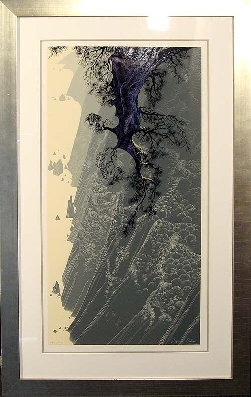"""Eyvind Earle """"mountain Rise"""" Hand Signed Color Serigraph Artwork Submit An Offer"""