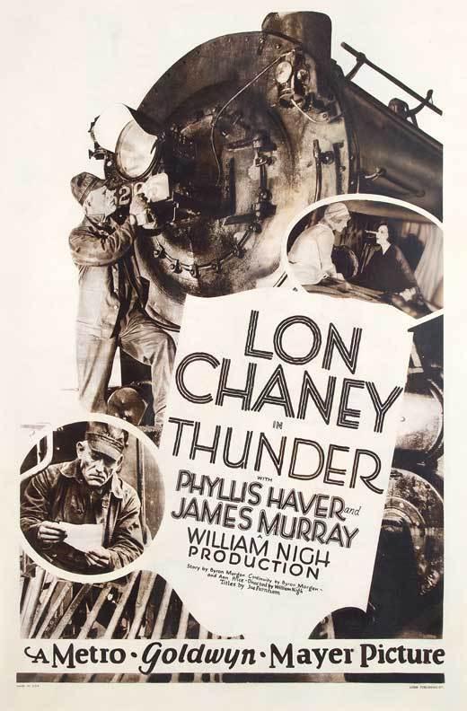 THUNDER Movie POSTER 27x40 Lon Chaney Phyllis Haver James Murray Tom Keene