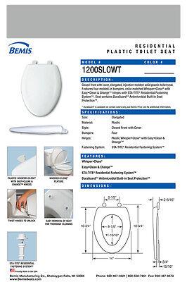 Bemis 1200SLOWT-062 Elongated  Plastic Slow Close Toilet Seat - ICE GREY