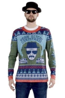 Faux Real Brechen Schlechte Walter Weiß Ugly Weihnachten Pullover Hemd Kostüm (Schlechte Weihnachten Pullover)