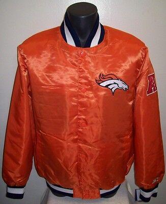 DENVER BRONCOS Satin Jacket Original STARTER Traditional M L XL 2X ORANGE ()