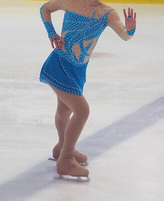 CUSTOM US ICEWEAR ICE SKATING COMPETITION DRESS WITH SWAROVSKI CRYSTALS-STUNNING