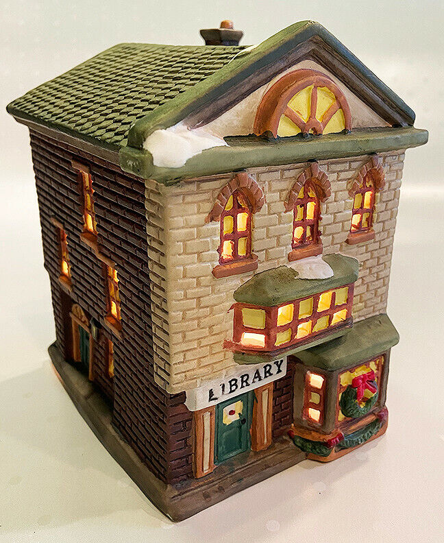 """Trim A Home Lighted Christmas Village Library - 6"""""""
