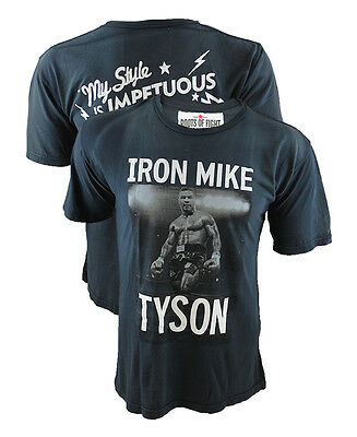 Roots Of Fight Mike Tyson Bmotp Sun Faded Navy T Shirt Boxing Tee