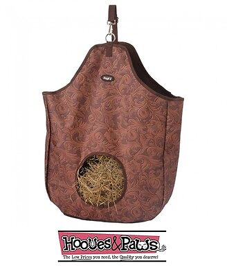 Tough-1 Tooled Leather Brown Print Nylon Hay Tote Bag Western English Horse Tack