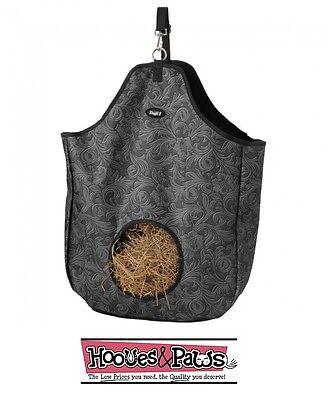 Tough-1 Black Tooled Print Nylon Hay Tote Bag Western English Horse Tack