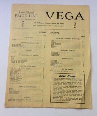Vintage 1953 Vega Musical instruments price list guitars banjs amps, etc Odell