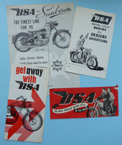 4 BSA MOTORCYCLE BROCHURE/s BOOK CATALOG 1949 1951 1965 A7 A65 B34 A10 LIGHTNING