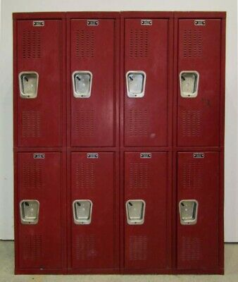 Used Red 2-tier Metal School Lockers - 48w X 12d X 60th - 8 Lockers A Set