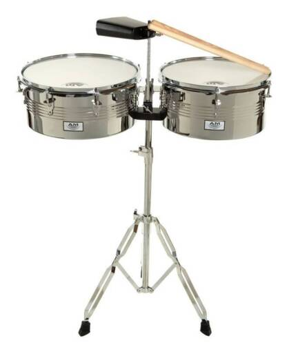 """NEW AM Percussion LIBRE 13"""" & 14"""" Timbale Set with Stand, Sticks and Cowbell"""