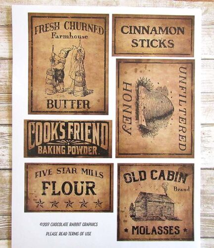 Country Primitive Pantry Labels, Vintage Style, Set of 6 Labels on Sticker Paper