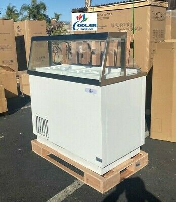 New 47 Ice Cream Gelato 8 Tub Freezer Top Glass Nice Modern Display Nsf Etl