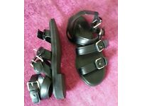 Black buckle sandles wide fitting size 7