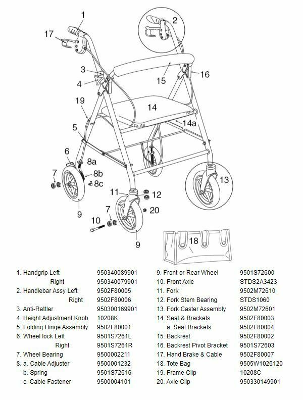Drive Medical Rollator Walker Model R800 Replacement Parts