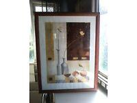 Large print under glass, wood effect frame 67cm x 88cm