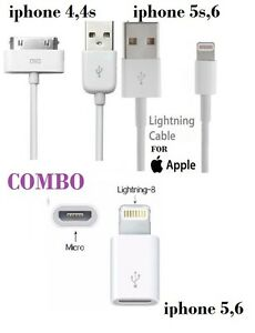 Combo Generic Apple iphone USB Data Cable (5s/6+)/30 pin 4,4s/8 pin usb adapter