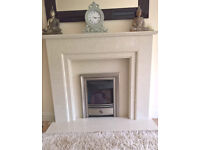 Marble/Stone effect Fireplace surround, Hearth & Electric Fire