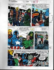 1991-Marvel-Comics-Avengers-329-color-guide-art-page-18-Captain-America-She-Hulk