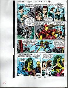 1990-Avengers-Marvel-color-guide-art-page-Captain-America-She-Hulk-Thor-Iron-Man