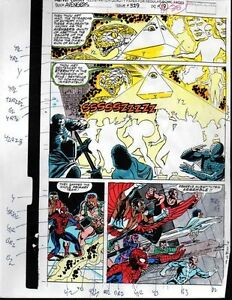 1991-Avengers-color-guide-comic-art-Spider-Man-Falcon-Captain-Marvel-Quicksilver