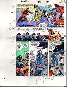 Original-1989-Avengers-312-Marvel-Comics-color-guide-art-Captain-America-1980s