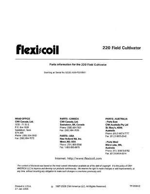 New Holland 220 Field Cultivator Parts Catalog