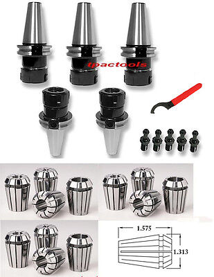 5pc Cat40 Er32 Precision Collet Chuck 20000 Rpm 12pc Er32 Collets Haas Pull Stud