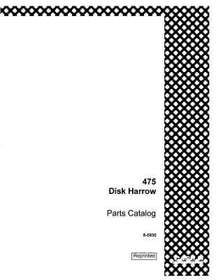 Case Ih 475 Disk Harrow Complete Parts Catalog