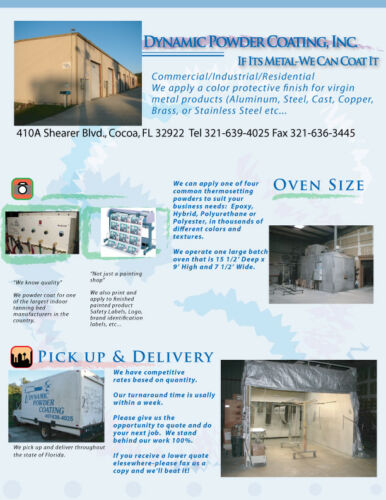 Business for Sale Florida Powder Coating