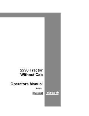 Case Ih 2290 Tractor Without Cab Operators Manual