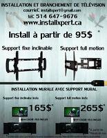 Installation de support mural ( tv / tablette / barre de son ))