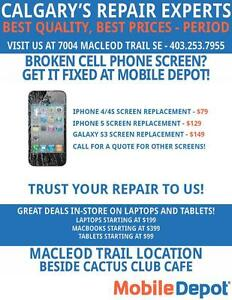 CELL PHONE SCREEN REPAIRS STARTING AT $45 AT MOBILE DEPOT!