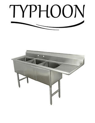 Three Compartment Kitchen 96 18g Stainless Steel Sink 24 Right Drainboard