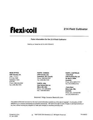 New Holland 214 Field Cultivator Parts Catalog