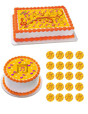Music Note Edible Birthday Cake Topper OR Cupcake Topper, Decor - Music Birthday Decorations