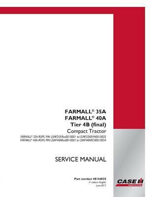Case Ih Farmall 35a Farmall 40a Rops Tier 4b Final Compact Tractor Service Ma