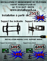 Installation de support mural ( tv / tablette / barre de son )).